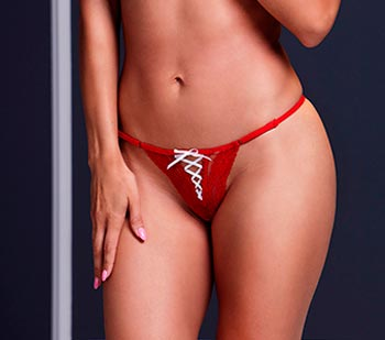 TANGA COLOR ROJO CON CINTA EN BLANCO - Click Image to Close